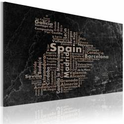 Obraz  Text map of Spain on the blackboard