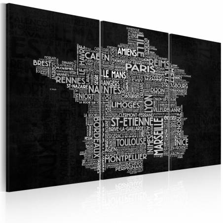 Obraz  Text map of France on the black background  triptych