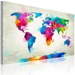 Obraz  Map of the world  an explosion of colors